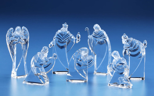 """Pack of 14 Clear Arched Miniature Religious Holy Family Nativity Figures 4.5"""" - IMAGE 1"""