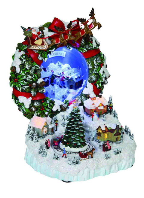 """Set of 2 White and Red Frosted Wreath Village with Mirrors 9.75"""" - IMAGE 1"""