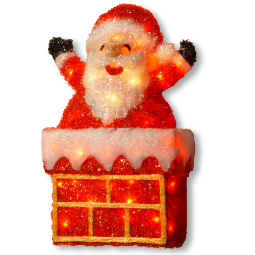"""24"""" Red Christmas Decorative Santa on Chimney Table Topper - Clear Lights - IMAGE 1"""