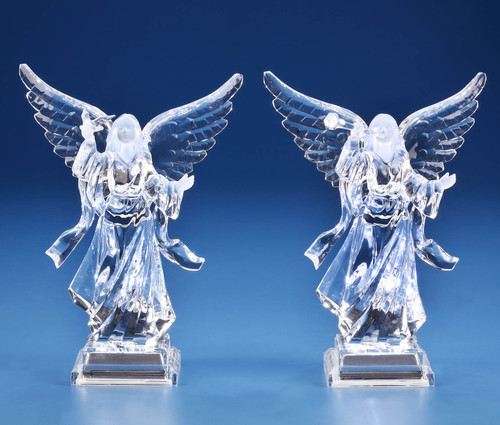 """Set of 4 Clear Glossy Finish Roman Angel Tabletop Figurines 9.25"""" - IMAGE 1"""