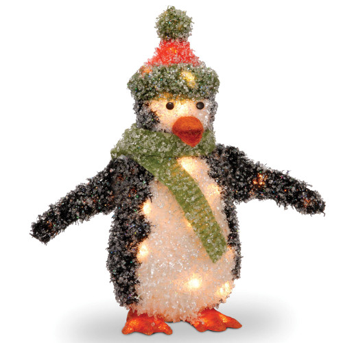 "18"" Vibrantly Colored Glitter Finish Penguin Table Topper - Clear Lights - IMAGE 1"