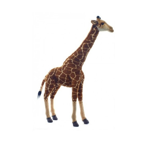 """27.5"""" Handcrafted Brown and Ivory Realistic Free Standing Plush Baby Giraffe Stuffed Animal - IMAGE 1"""