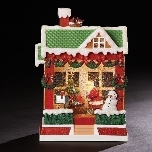 """Set of 2 Red and Green Christmas Scene Santa LED House Decors 10.25"""" - IMAGE 1"""