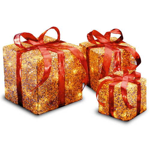 """Set of 3 Red and Gold Colored Christmas Decorative Gift Boxes Table Toppers - Clear Lights 14"""" - IMAGE 1"""