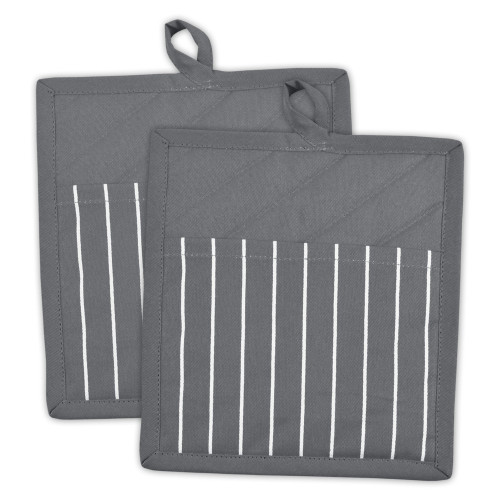 """Set of 2 Gray and White Striped Pattern Quilted Potholders 9"""" - IMAGE 1"""