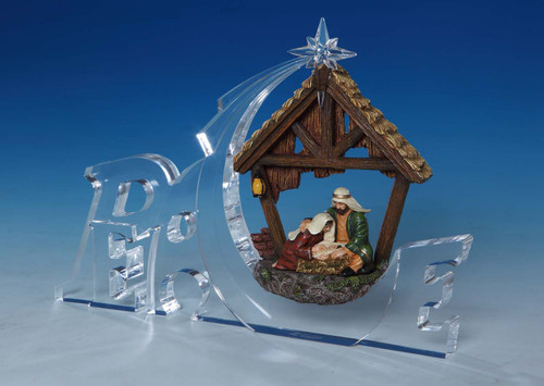 """Set of 2 Clear and Brown Nativity """"Peace"""" Tabletop Decors 7"""" - IMAGE 1"""