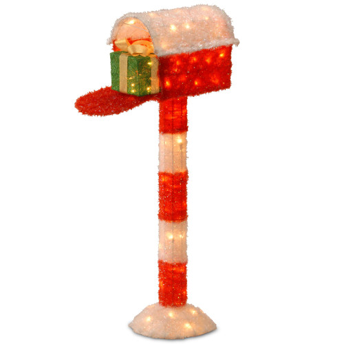"""48"""" Red and White Mailbox with Gift Box - Clear Lights - IMAGE 1"""