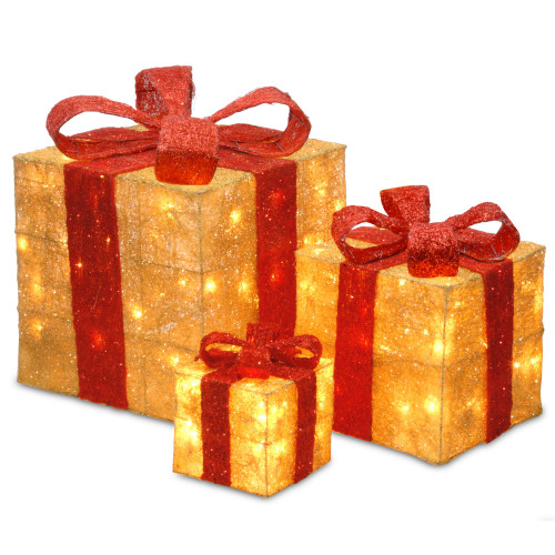 "Set of 3 Red and Gold Colored Christmas Decorative Gift Boxes Table Toppers - Clear Lights 14"" - IMAGE 1"