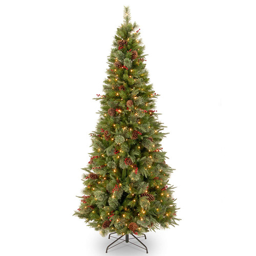 7.5' Pre-Lit Colonial Slim Artificial Christmas Tree – clear Lights - IMAGE 1