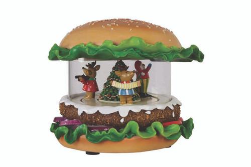 "Set of 2 Hamburger Shaped Christmas Musical Tabletop Decor with LED 5.75"" - IMAGE 1"