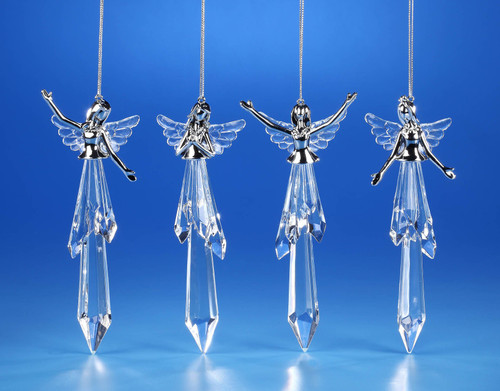 """Set of 8 Clear Religious Praising Angel Hanging Ornaments 6"""" - IMAGE 1"""