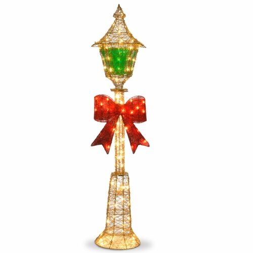 "60"" Gold Colored Lamp Post with Green Film and Red Bow - Clear Lights - IMAGE 1"