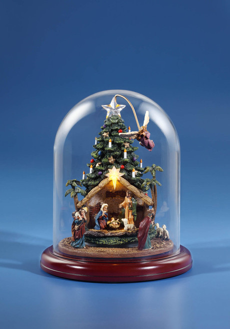 """9"""" Green and Red Angel Rotating Nativity Tree with Dome Tabletop Decoration - IMAGE 1"""