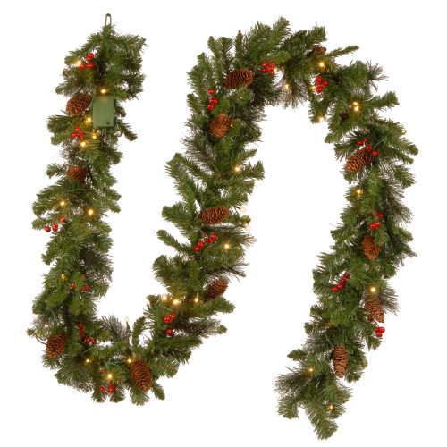 "9' x 10"" Pre-Lit B/O Crestwood Spruce Decorated Artificial Christmas Garland - Warm White LED Lights - IMAGE 1"