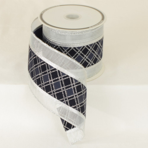 """Sparkling Blue/Silver Plaid Sheer Wired Craft Ribbon 4"""" x 20 Yards - IMAGE 1"""