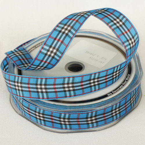 "Plaid Blue- Burry -Woven Taffeta Printed Craft Ribbon 0.62 ""x 27 Yards - IMAGE 1"