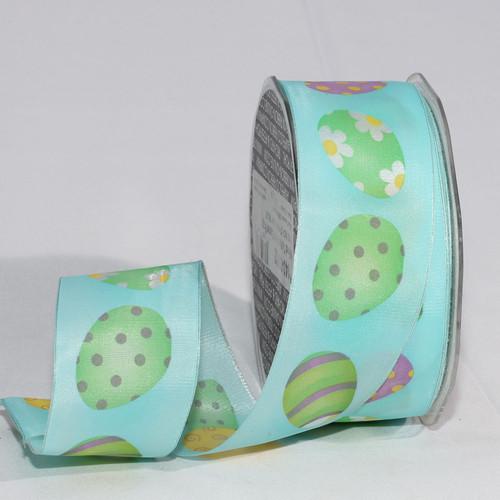 "Easter Pastel Taffeta Printed Wired Craft Ribbon 1.5 ""x 27 Yards - IMAGE 1"