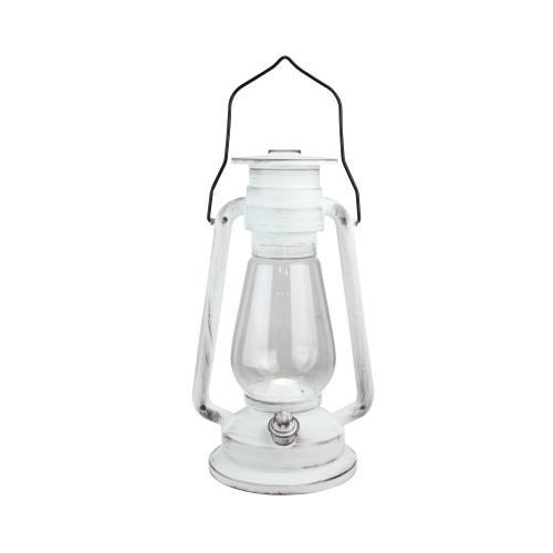 """12"""" Black Brushed White Traditional Lantern with Bright White LED Light - IMAGE 1"""