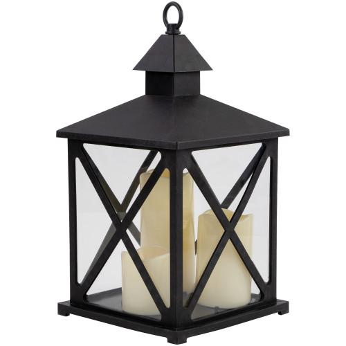 """12.5"""" Black Candle Lantern with 3 Flameless LED Candle - IMAGE 1"""