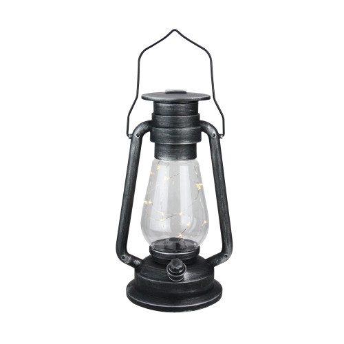 """12"""" Silver Brushed Black Traditional Lantern with Micro Lights - IMAGE 1"""