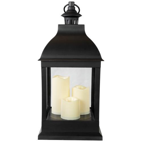 """20"""" Large Black Candle Lantern with 3 Flameless LED Candles - IMAGE 1"""