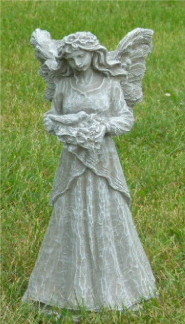 "18"" Teal Finished Fairy Holding Dove Outdoor Statue Decoration - IMAGE 1"