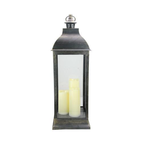 """28"""" Large Black Brushed Gold Lantern With Flameless LED Candles - IMAGE 1"""