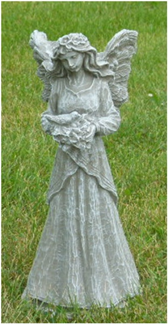 "18"" Fairy Holding Dove Outdoor Statue Decoration - Moss Finish - IMAGE 1"