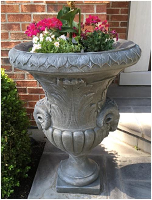 """Set of 2 Antique Stone Finished Decorative Urn Planters 37"""" - IMAGE 1"""
