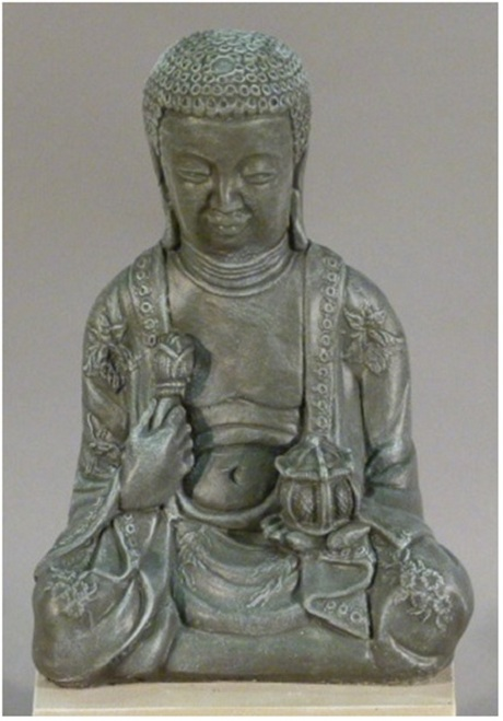 """20"""" Antique Stone Finished Large Meditating Buddha Outdoor Garden Statue - IMAGE 1"""