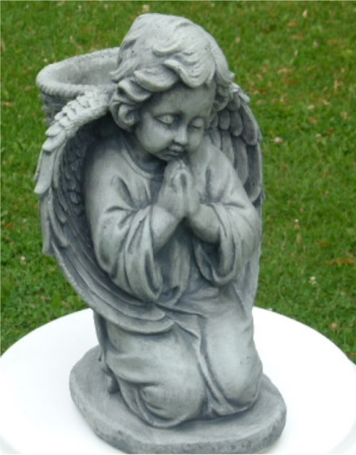 "14"" Cherub Outdoor Statue with Basket on Knees - Antique Stone Finish - IMAGE 1"