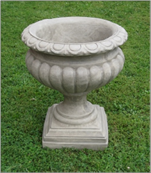"Set of 2 Moss Finished Outdoor Garden Fluted Urn Planters 27"" - IMAGE 1"