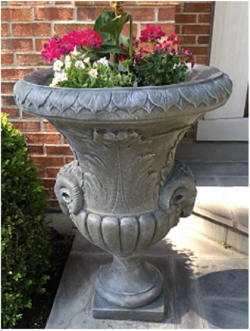 "Set of 2 Limestone Finished Outdoor Decorative Urn Planters 37"" - IMAGE 1"