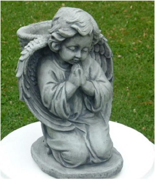 "14"" Kneeling Cherub with Basket Planter Statue Outdoor Decoration - Limestone Finish - IMAGE 1"