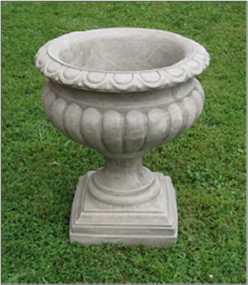 """Set of 2 Old Stone Finished Outdoor Garden Fluted Urn Planters 27"""" - IMAGE 1"""