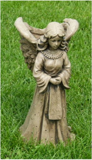 """18"""" Angel with Basket Outdoor Garden Statue Decoration - Marble Finish - IMAGE 1"""
