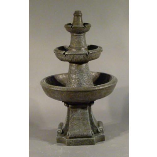"54"" Three Tier Outdoor Patio Garden Water Fountain - Limestone Finish - IMAGE 1"