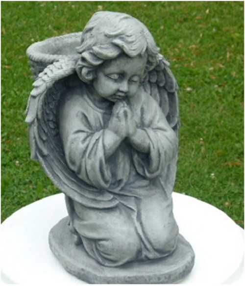 "14"" Kneeling Cherub with Basket Planter Statue Outdoor Decoration - Marble Finish - IMAGE 1"