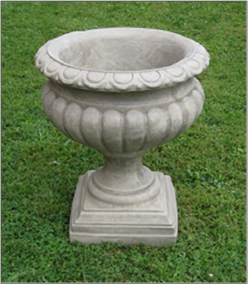 "Set of 2 Saddle Stone Finished Outdoor Garden Fluted Urn Planters 27"" - IMAGE 1"
