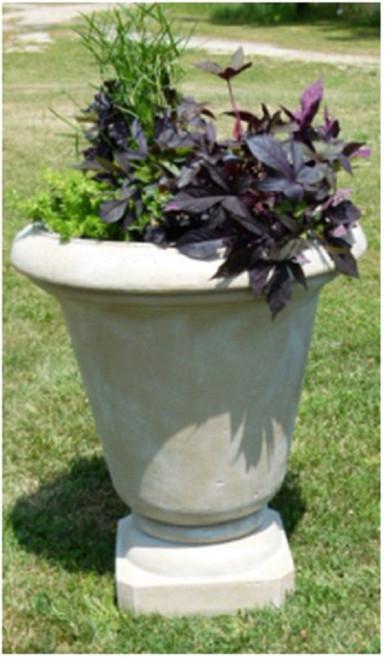 "Set of 2 Cedar Brown Antique Stone Outdoor Patio Garden Genoa Urns 30"" - IMAGE 1"