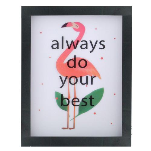 "LED Lighted 'Always Do Your Best' Flamingo Framed Light Box 9"" x 7"" - IMAGE 1"