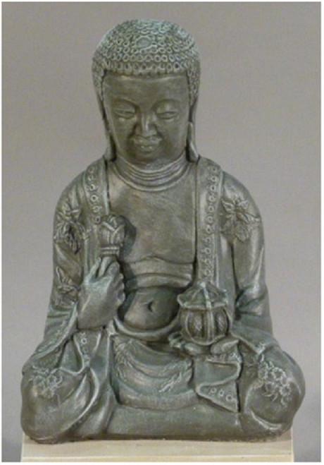 """20"""" Old Stone Finished Large Meditating Buddha Outdoor Garden Statue - IMAGE 1"""