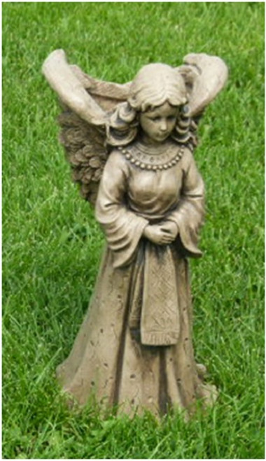 "18"" Angel with Basket Outdoor Garden Statue Decoration - Saddle Stone Finish - IMAGE 1"