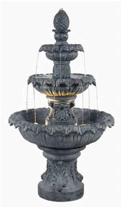 "55"" Three Tier Outdoor Patio Garden Water Fountain - Mocha Finish - IMAGE 1"