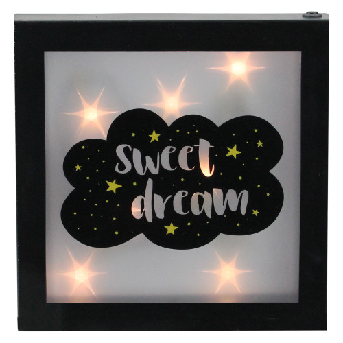 """9"""" Battery Operated LED Lighted """"Sweet Dream"""" Cloud Framed Night Light Box - IMAGE 1"""