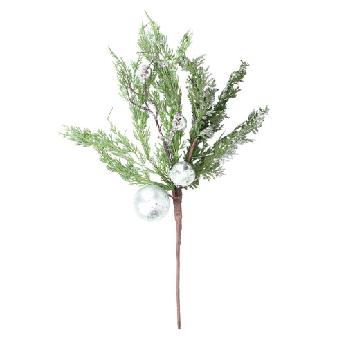 """22"""" Green and White Iced Cedar with Ornaments Artificial Christmas Spray - IMAGE 1"""