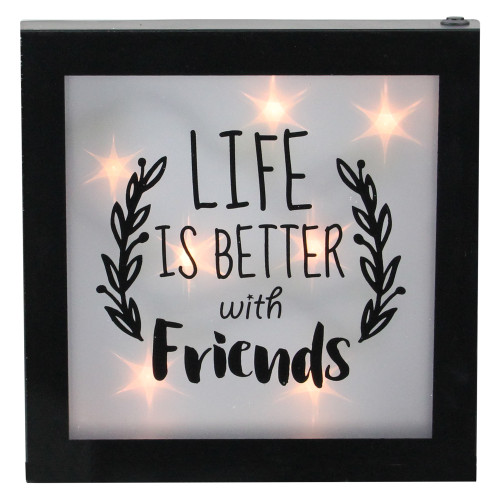 """9"""" B/O LED Lighted """"Life is Better With Friends"""" Framed Wall Decor - IMAGE 1"""