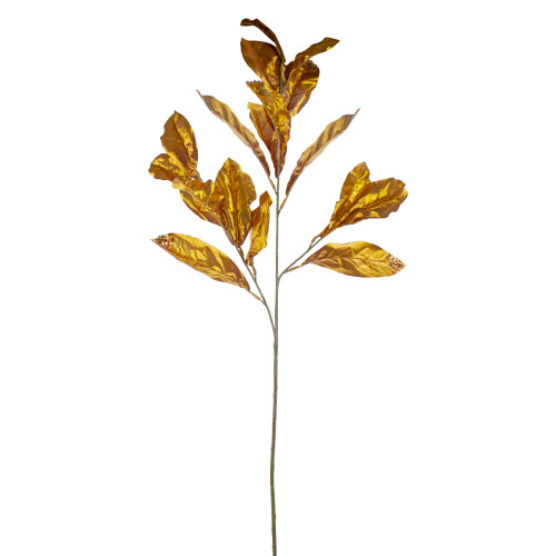 """37.5"""" Brown and Gold Glittered Sequined Magnolia Leaf Autumn Spray - IMAGE 1"""