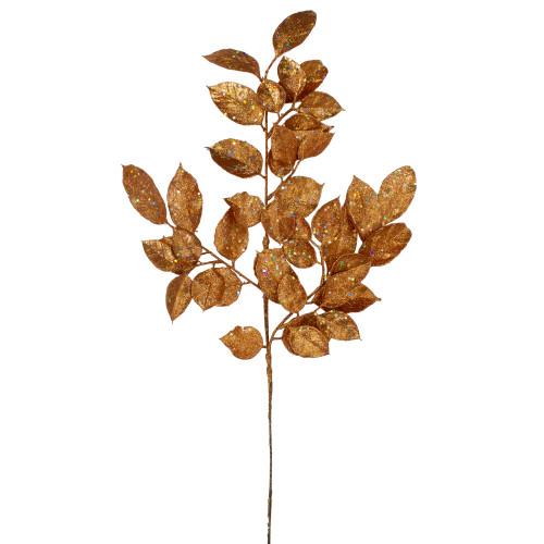 "25"" Brown Holographic Glittered Lemon Leaf Autumn Spray - IMAGE 1"