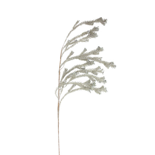 """48"""" Brown and Silver Glittered Weeping Pine Artificial Christmas Spray - IMAGE 1"""